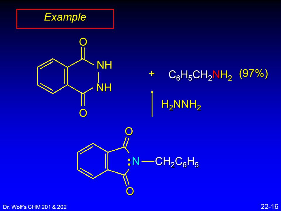 Dr. Wolf's CHM 201 & 202 22-16 Example + C 6 H 5 CH 2 NH 2 OO N CH 2 C 6 H 5 H 2 NNH 2 (97%)OO NH NH
