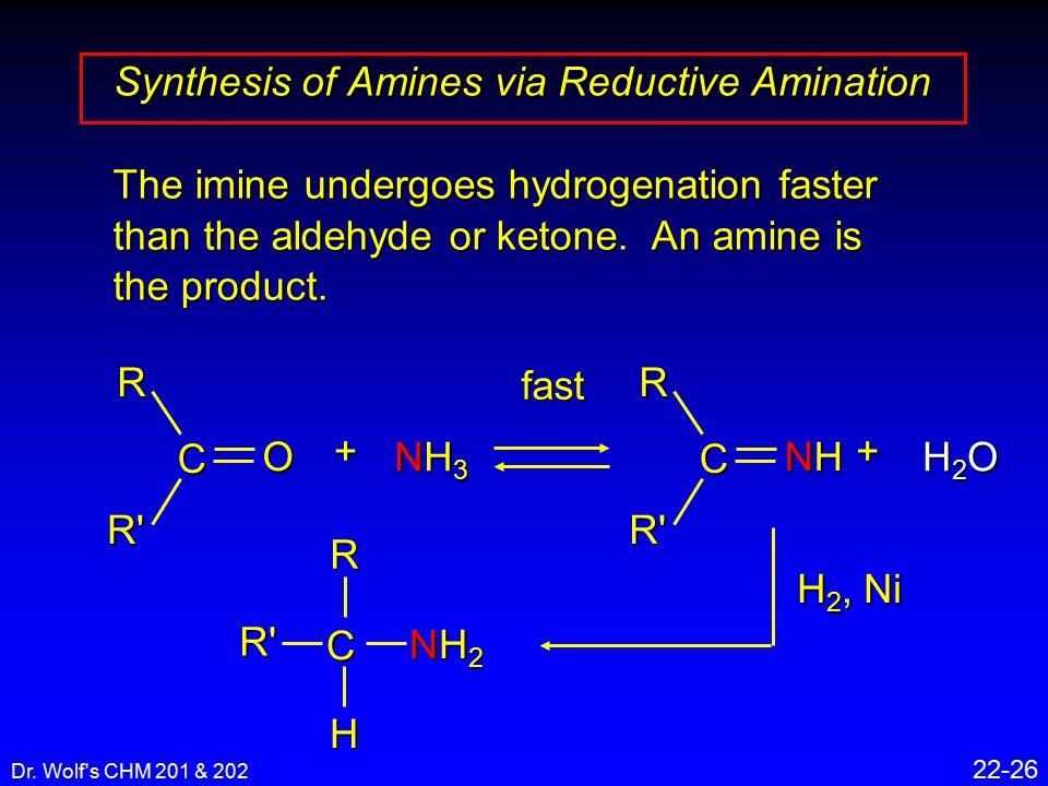 Dr. Wolf's CHM 201 & 202 22-26 Synthesis of Amines via Reductive Amination O CRR' + NH3NH3NH3NH3 fast NHNHNHNH CRR' + H2OH2OH2OH2O H 2, Ni NH2NH2NH2NH