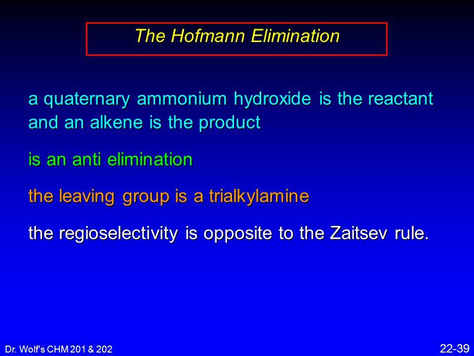 Dr. Wolf's CHM 201 & 202 22-39 The Hofmann Elimination a quaternary ammonium hydroxide is the reactant and an alkene is the product is an anti elimina