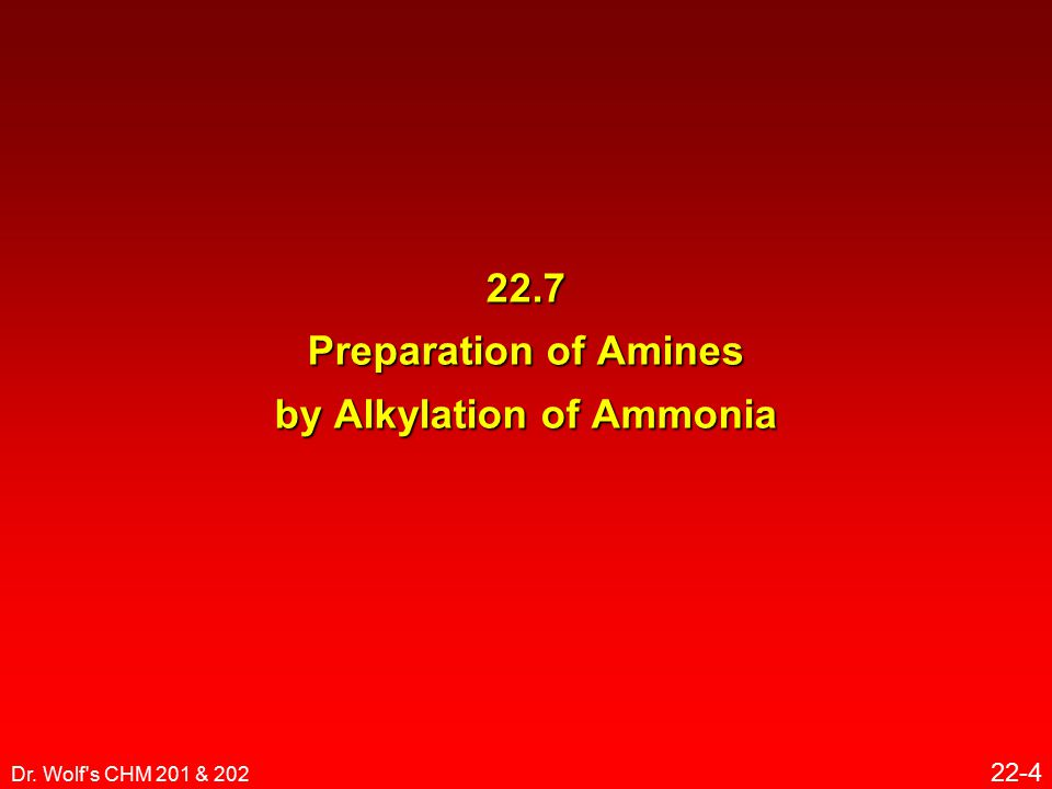 Dr. Wolf s CHM 201 & 202 22-4 22.7 Preparation of Amines by Alkylation of Ammonia