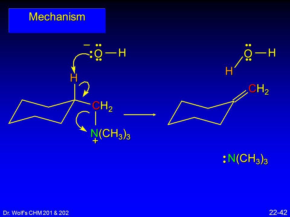 Dr. Wolf's CHM 201 & 202 22-42 Mechanism H CH2CH2CH2CH2+ N(CH 3 ) 3 –O H OH H N(CH 3 ) 3 CH2CH2CH2CH2