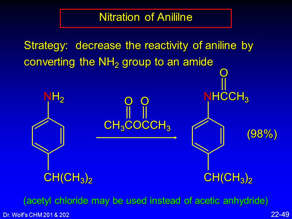 Dr. Wolf's CHM 201 & 202 22-49 Nitration of Anililne Strategy: decrease the reactivity of aniline by converting the NH 2 group to an amide CH(CH 3 ) 2