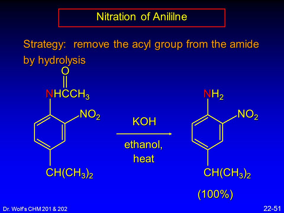 Dr. Wolf's CHM 201 & 202 22-51 Nitration of Anililne Strategy: remove the acyl group from the amide by hydrolysis CH(CH 3 ) 2 NHCCH 3 O NO 2 KOH ethan