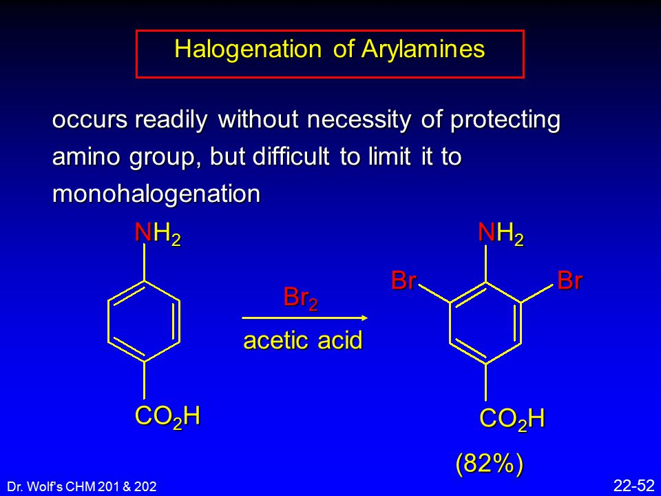 Dr. Wolf's CHM 201 & 202 22-52 occurs readily without necessity of protecting amino group, but difficult to limit it to monohalogenation Halogenation