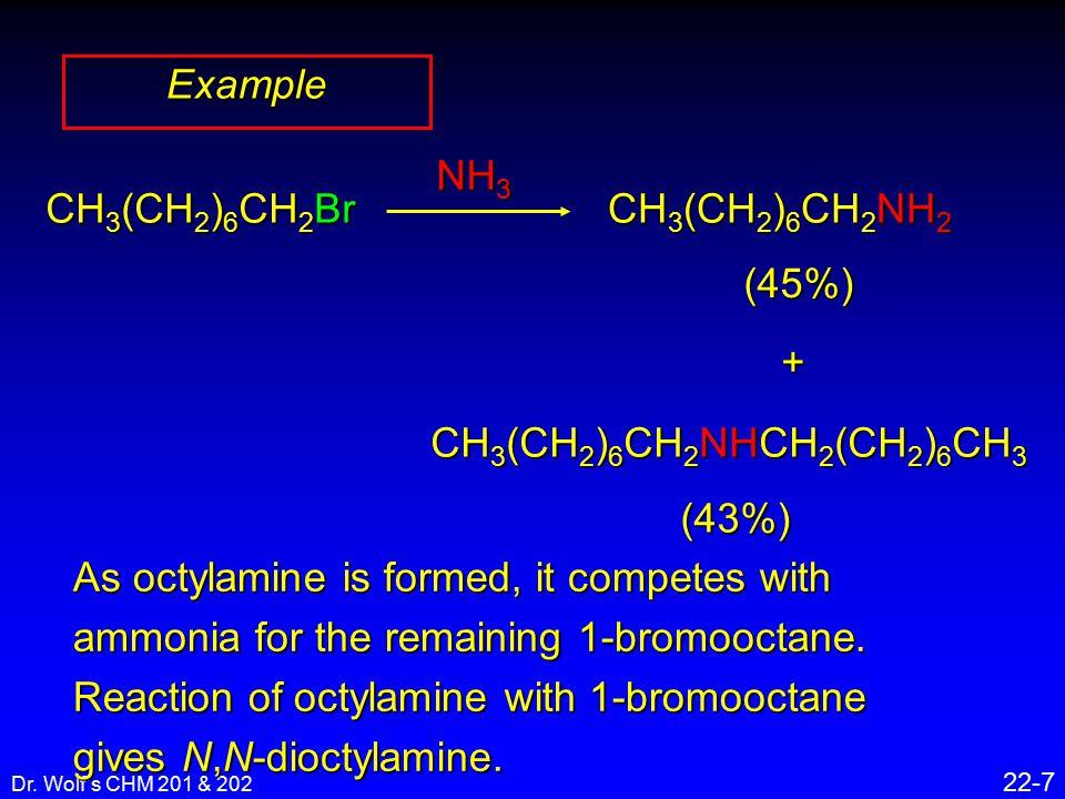 Dr. Wolf's CHM 201 & 202 22-7 Example CH 3 (CH 2 ) 6 CH 2 Br NH 3 CH 3 (CH 2 ) 6 CH 2 NH 2 (45%)+ CH 3 (CH 2 ) 6 CH 2 NHCH 2 (CH 2 ) 6 CH 3 (43%) As o
