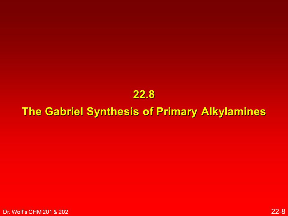 Dr. Wolf s CHM 201 & 202 22-8 22.8 The Gabriel Synthesis of Primary Alkylamines