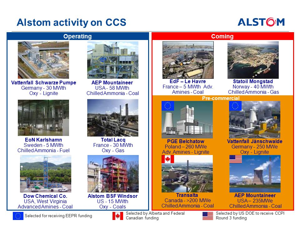 Alstom activity on CCS Selected for receiving EEPR funding Total Lacq France - 30 MWth Oxy - Gas EoN Karlshamn Sweden - 5 MWth Chilled Ammonia - Fuel Vattenfall Schwarze Pumpe Germany - 30 MWth Oxy - Lignite Vattenfall Jänschwalde Germany - 250 MWe Oxy - Lignite Dow Chemical Co.