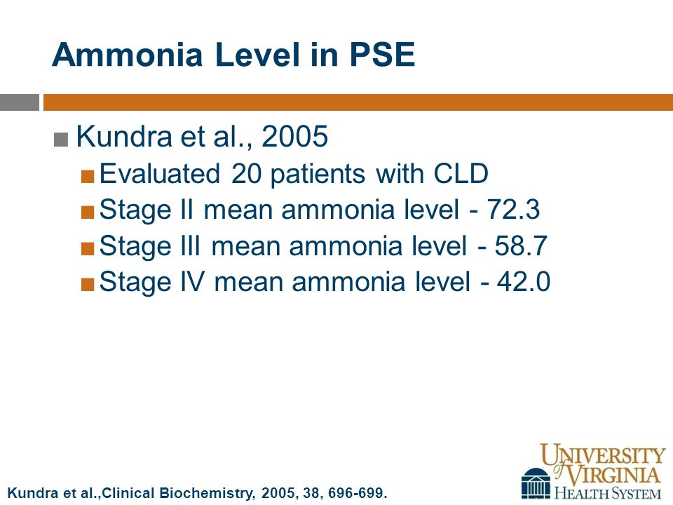 Ammonia Level in PSE ■Kundra et al., 2005 ■Evaluated 20 patients with CLD ■Stage II mean ammonia level - 72.3 ■Stage III mean ammonia level - 58.7 ■Stage IV mean ammonia level - 42.0 Kundra et al.,Clinical Biochemistry, 2005, 38, 696-699.