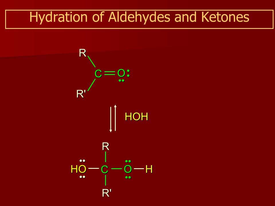 Hydration of Aldehydes and Ketones HOH C O HO C O H RR R R