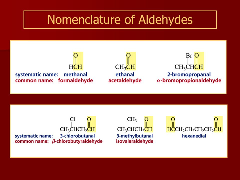 Nomenclature of Aldehydes
