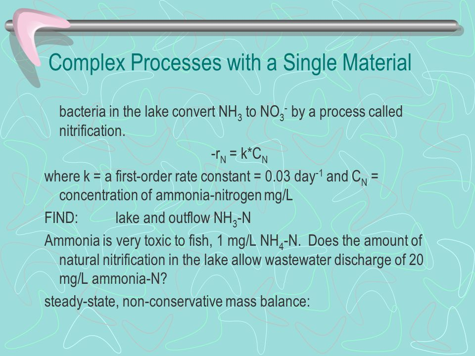 Complex Processes with a Single Material bacteria in the lake convert NH 3 to NO 3 - by a process called nitrification.