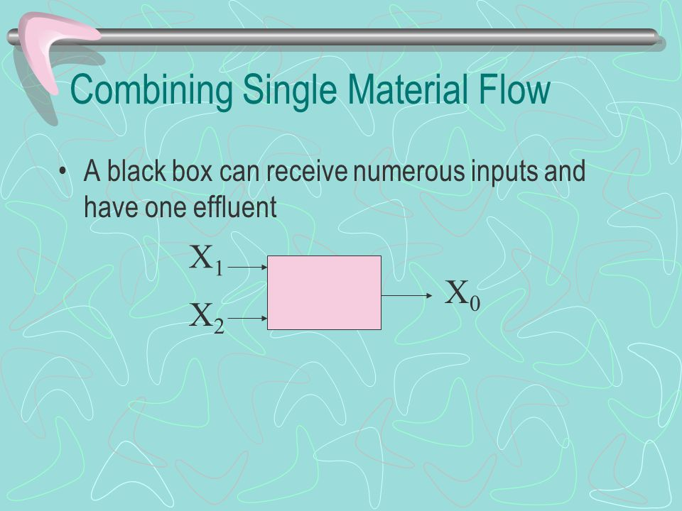 Combining Single Material Flow A black box can receive numerous inputs and have one effluent X0X0 X1X1 X2X2