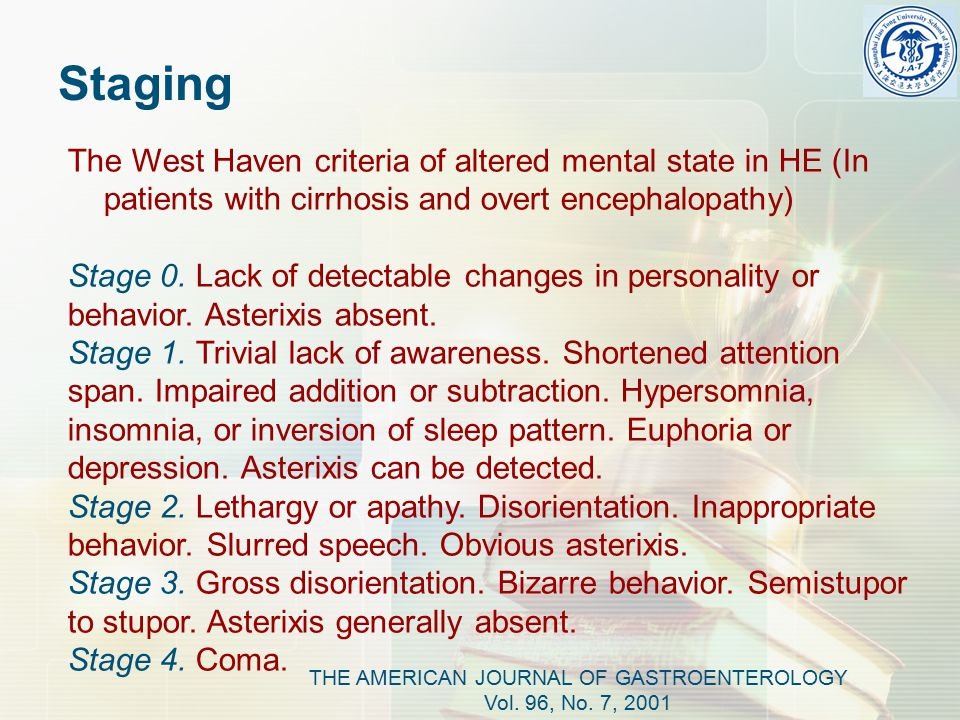 The West Haven criteria of altered mental state in HE (In patients with cirrhosis and overt encephalopathy) Stage 0.