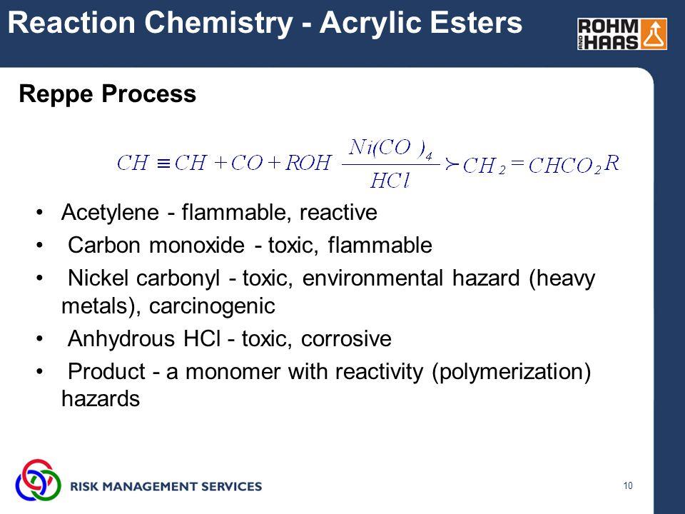 10 Reaction Chemistry - Acrylic Esters Acetylene - flammable, reactive Carbon monoxide - toxic, flammable Nickel carbonyl - toxic, environmental hazar