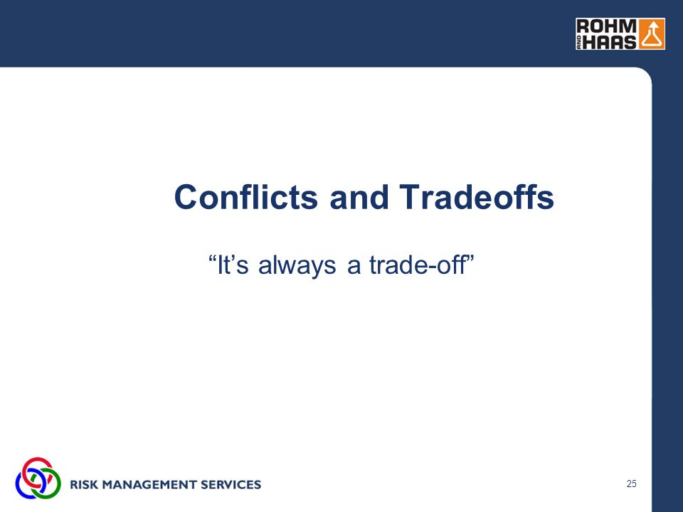 25 Conflicts and Tradeoffs It's always a trade-off