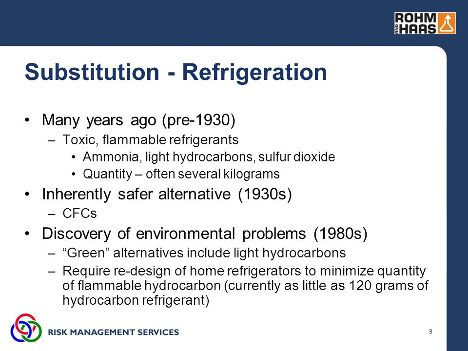 9 Substitution - Refrigeration Many years ago (pre-1930) –Toxic, flammable refrigerants Ammonia, light hydrocarbons, sulfur dioxide Quantity – often s