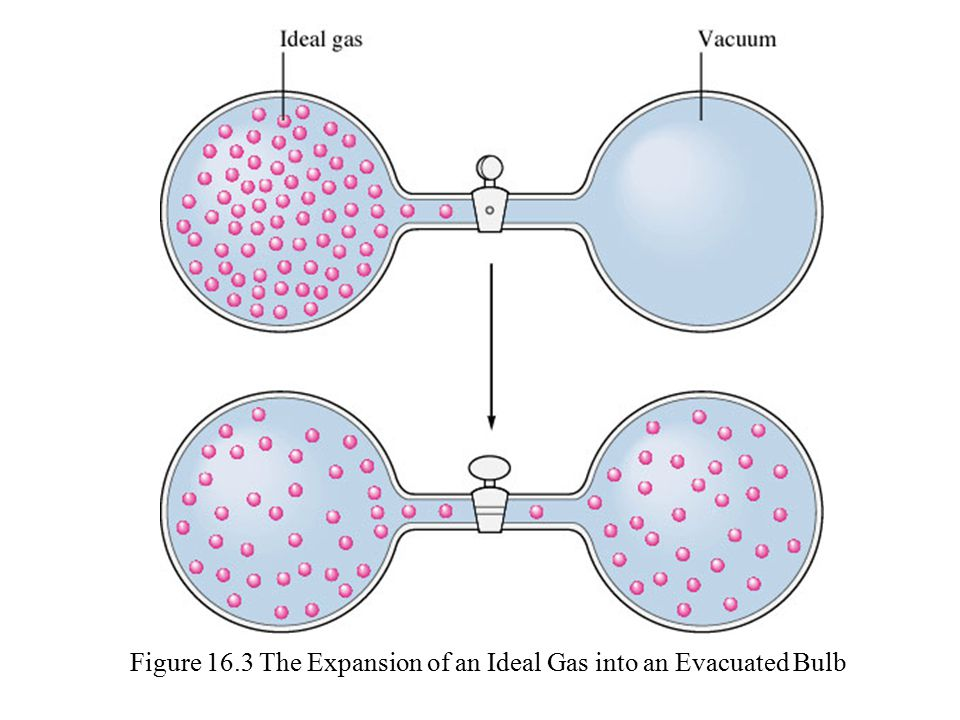 Figure 16.3 The Expansion of an Ideal Gas into an Evacuated Bulb