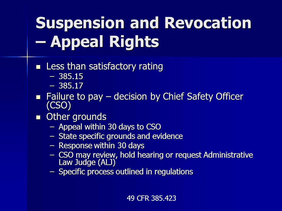 Suspension and Revocation – Appeal Rights Less than satisfactory rating Less than satisfactory rating –385.15 –385.17 Failure to pay – decision by Chi
