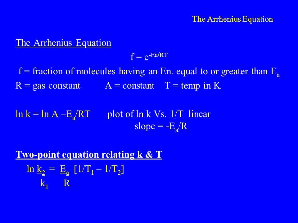 The Arrhenius Equation f = e -Ea/RT f = fraction of molecules having an En.
