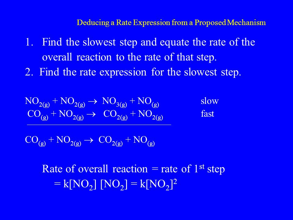 Deducing a Rate Expression from a Proposed Mechanism 1.Find the slowest step and equate the rate of the overall reaction to the rate of that step.