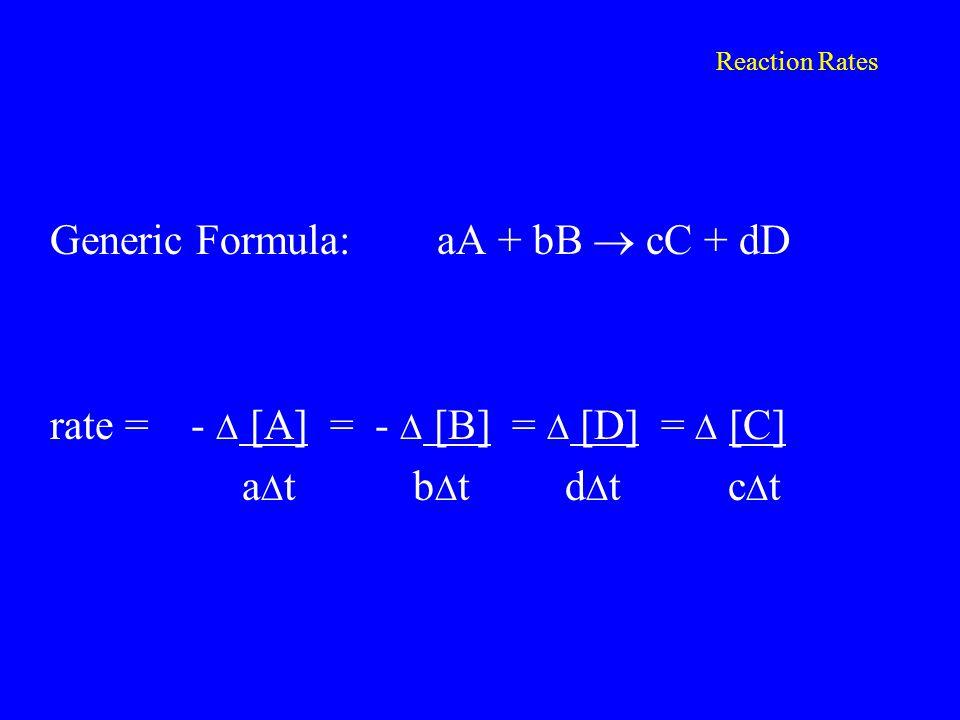 Reaction Rates Generic Formula: aA + bB  cC + dD rate = -  [A] = -  [B] =  [D] =  [C] a  t b  t d  t c  t