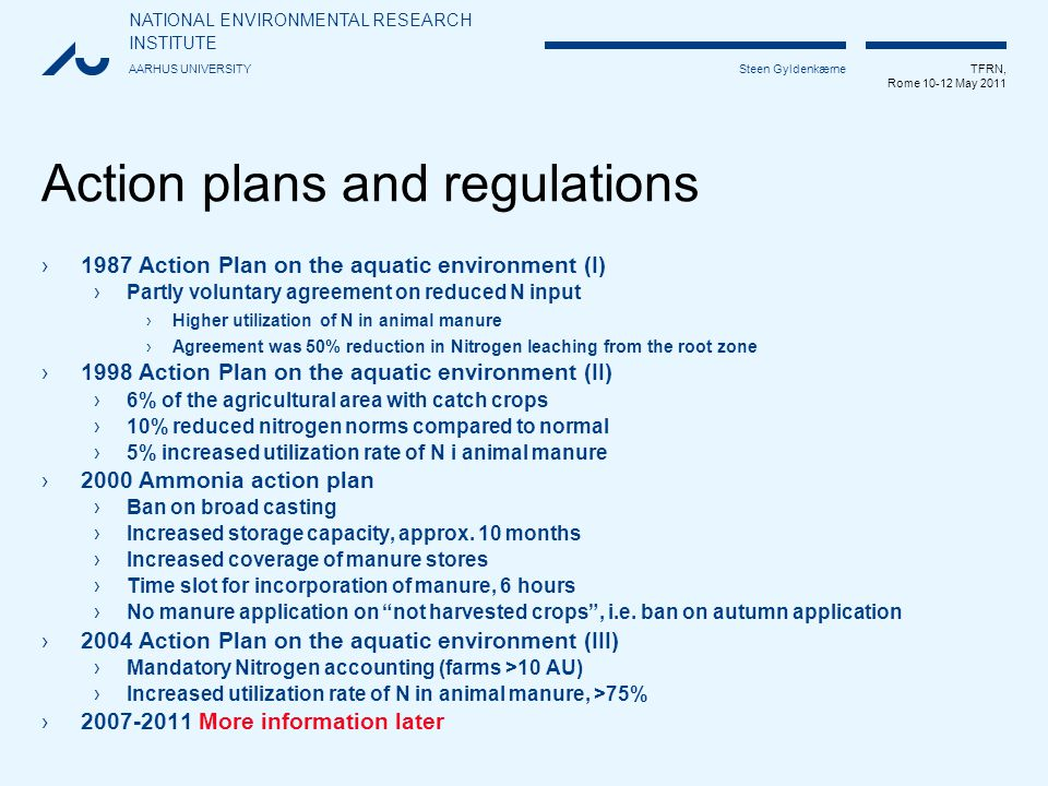 NATIONAL ENVIRONMENTAL RESEARCH INSTITUTE AARHUS UNIVERSITY TFRN, Rome 10-12 May 2011 Steen Gyldenkærne Comparison with other countries 2008DenmarkGermanyPolandThe Netherlands % Ammonia loss per kg excreted Nitrogen Cattle15252021 Pigs22352823 Poultry28433021 Source: Own calculation based on reported data to EMEP/CORINAR and UNFCCC Emission kg NH3-NDairy cowsFatteners/place Guide book Tier 1, approx.