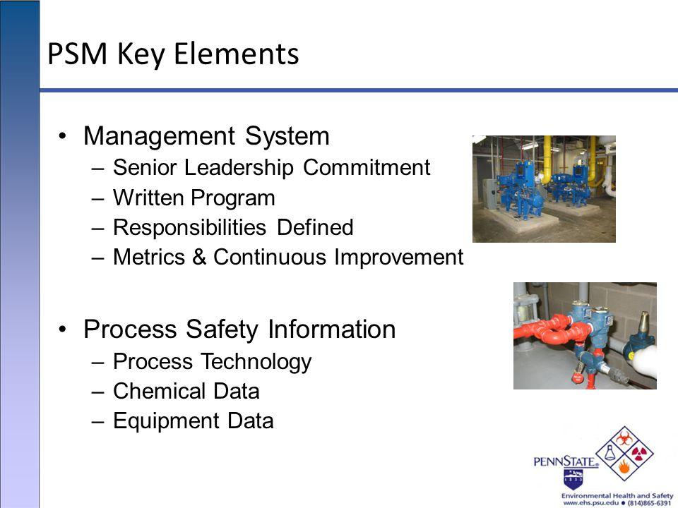 PSM Key Elements Management System –Senior Leadership Commitment –Written Program –Responsibilities Defined –Metrics & Continuous Improvement Process
