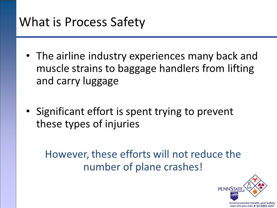 What is Process Safety The airline industry experiences many back and muscle strains to baggage handlers from lifting and carry luggage Significant ef