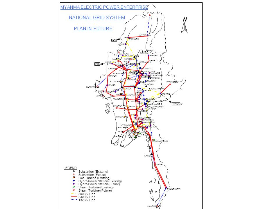 MYANMA ELECTRIC POWER ENTERPRISE NATIONAL GRID SYSTEM PLAN IN FUTURE