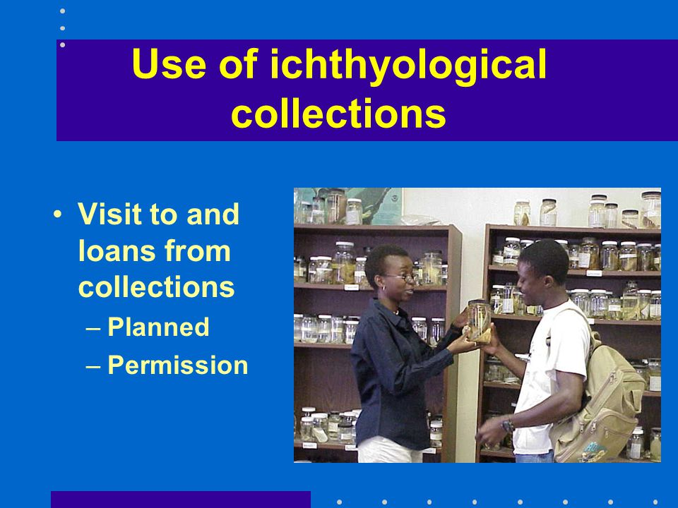 Use of ichthyological collections Visit to and loans from collections –Planned –Permission