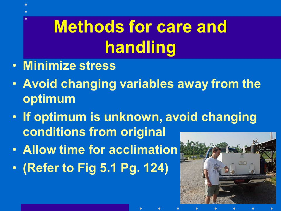 Methods for care and handling Minimize stress Avoid changing variables away from the optimum If optimum is unknown, avoid changing conditions from ori