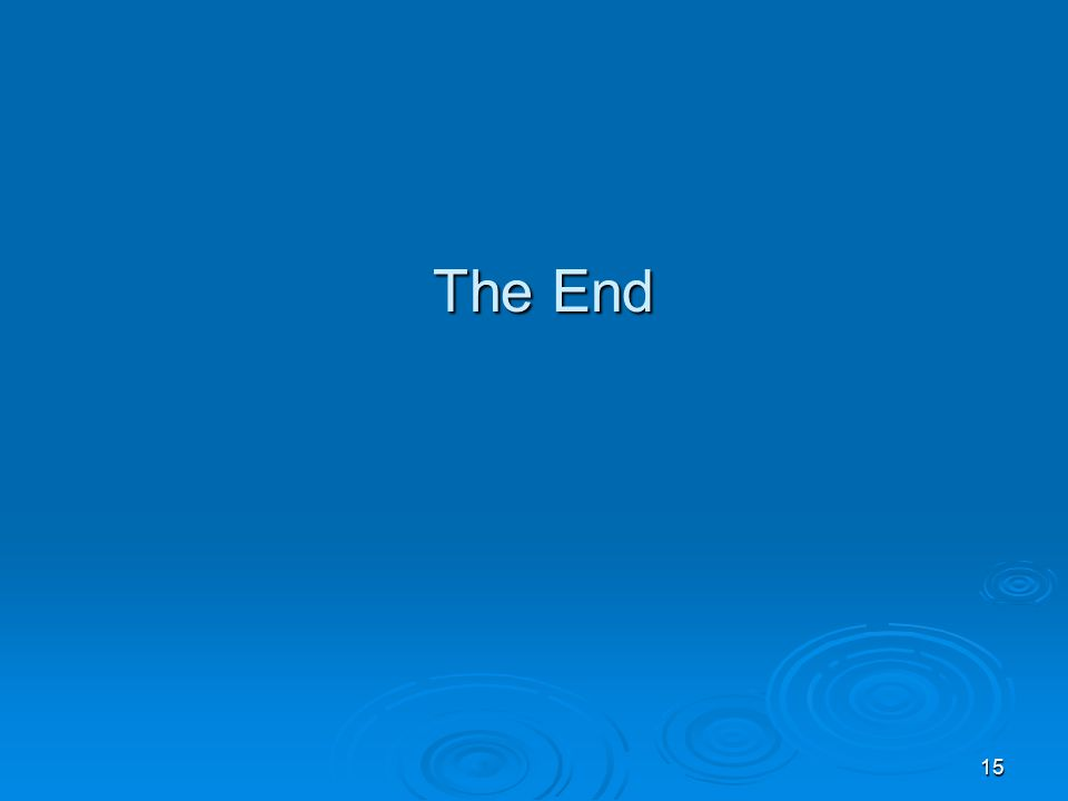 15 The End