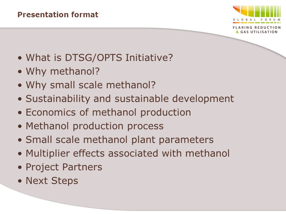 Presentation format What is DTSG/OPTS Initiative? Why methanol? Why small scale methanol? Sustainability and sustainable development Economics of meth