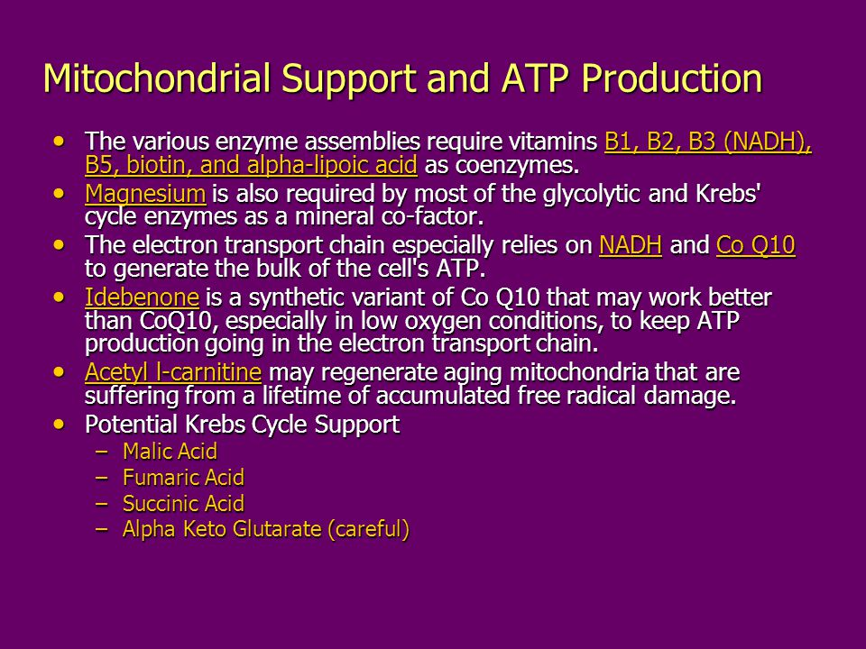 Mitochondrial Support and ATP Production The various enzyme assemblies require vitamins B1, B2, B3 (NADH), B5, biotin, and alpha-lipoic acid as coenzy
