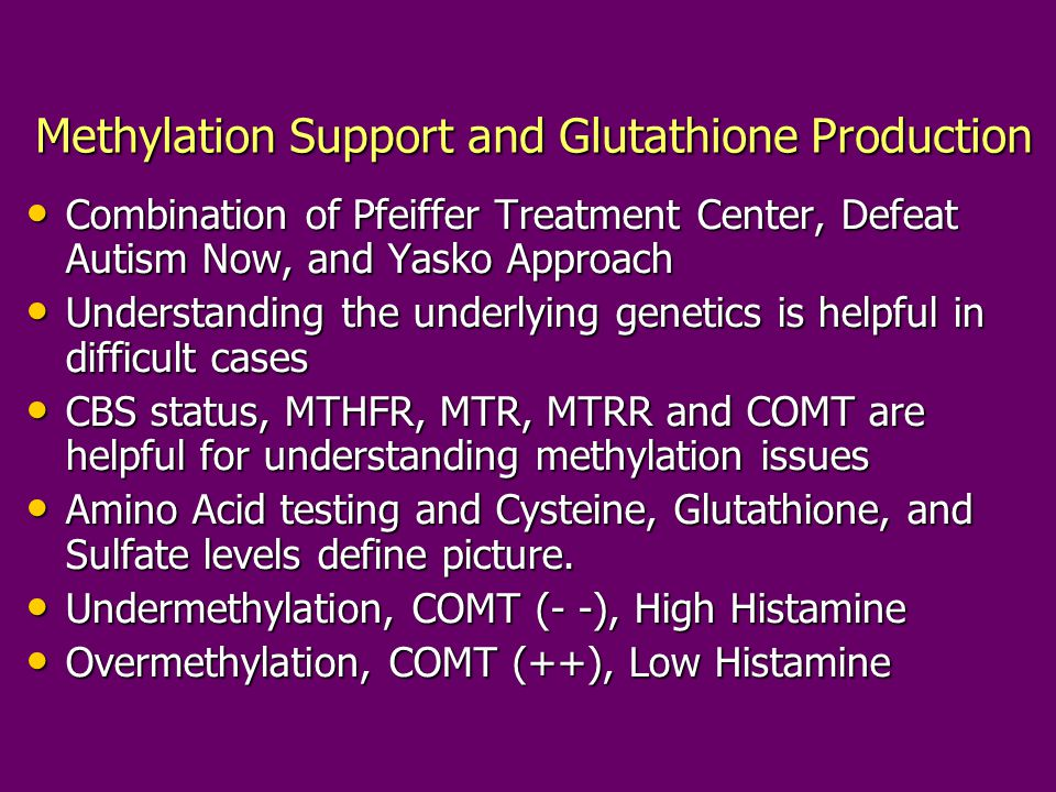 Methylation Support and Glutathione Production Combination of Pfeiffer Treatment Center, Defeat Autism Now, and Yasko Approach Combination of Pfeiffer