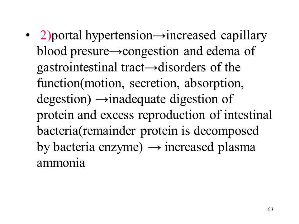 63 2)portal hypertension→increased capillary blood presure→congestion and edema of gastrointestinal tract→disorders of the function(motion, secretion, absorption, degestion) →inadequate digestion of protein and excess reproduction of intestinal bacteria(remainder protein is decomposed by bacteria enzyme) → increased plasma ammonia