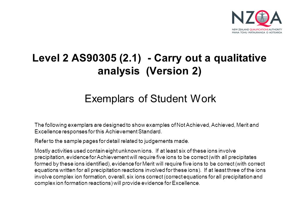 Level 2 AS90305 (2.1) - Carry out a qualitative analysis (Version 2) Exemplars of Student Work The following exemplars are designed to show examples of Not Achieved, Achieved, Merit and Excellence responses for this Achievement Standard.