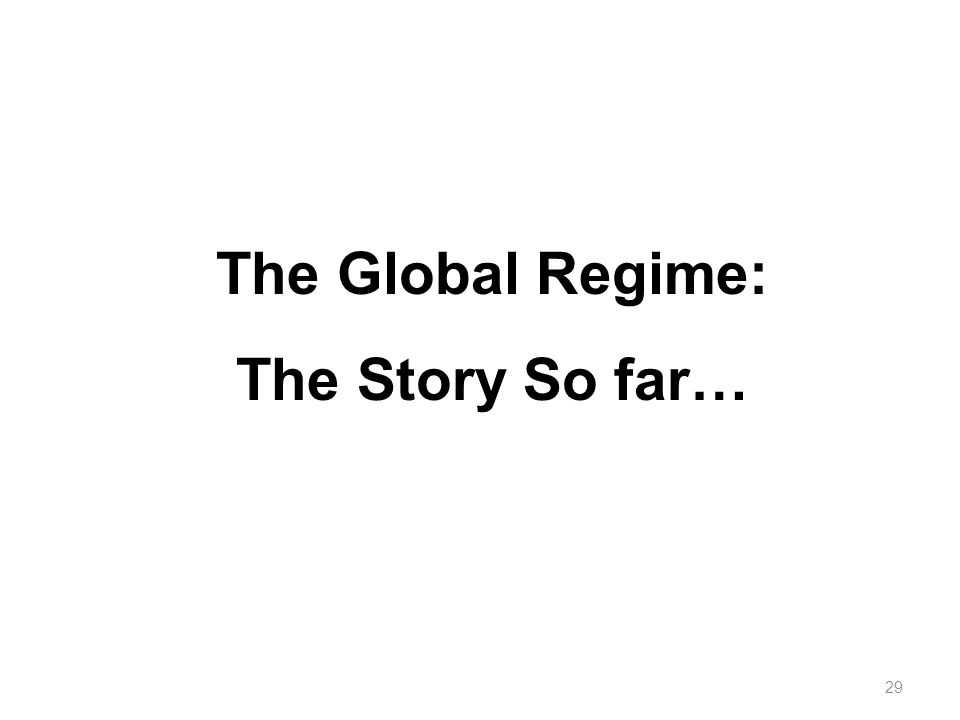 29 The Global Regime: The Story So far…