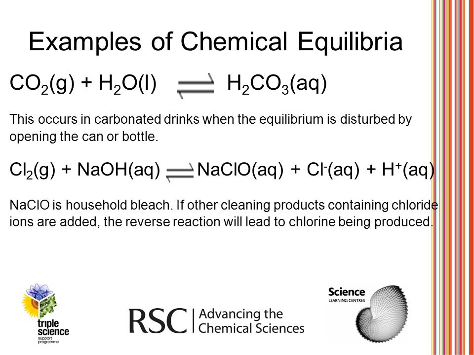 Examples of Chemical Equilibria CO 2 (g) + H 2 O(l) H 2 CO 3 (aq) This occurs in carbonated drinks when the equilibrium is disturbed by opening the ca
