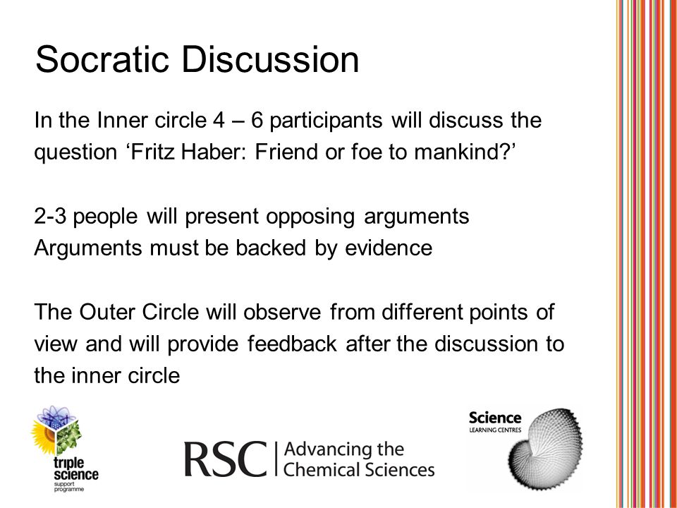 Socratic Discussion In the Inner circle 4 – 6 participants will discuss the question 'Fritz Haber: Friend or foe to mankind?' 2-3 people will present