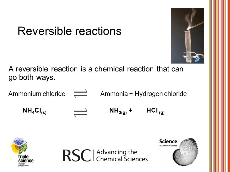 Reversible reactions A reversible reaction is a chemical reaction that can go both ways. Ammonium chlorideAmmonia + Hydrogen chloride NH 4 Cl (s) NH 3