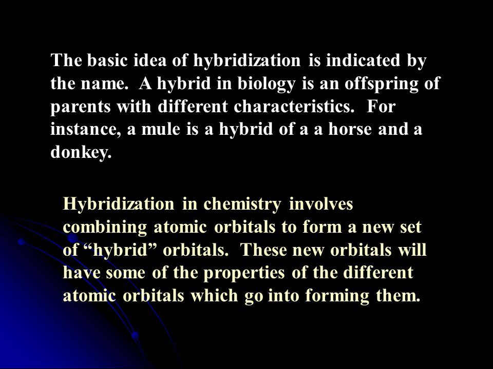 The basic idea of hybridization is indicated by the name.