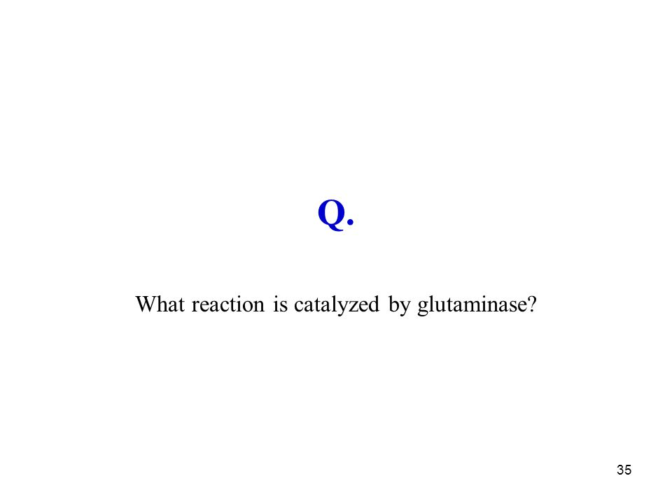 35 Q. What reaction is catalyzed by glutaminase?