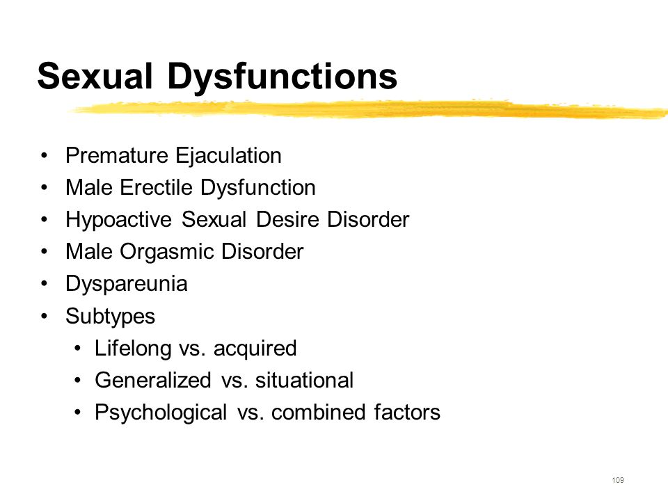 109 Sexual Dysfunctions Premature Ejaculation Male Erectile Dysfunction Hypoactive Sexual Desire Disorder Male Orgasmic Disorder Dyspareunia Subtypes