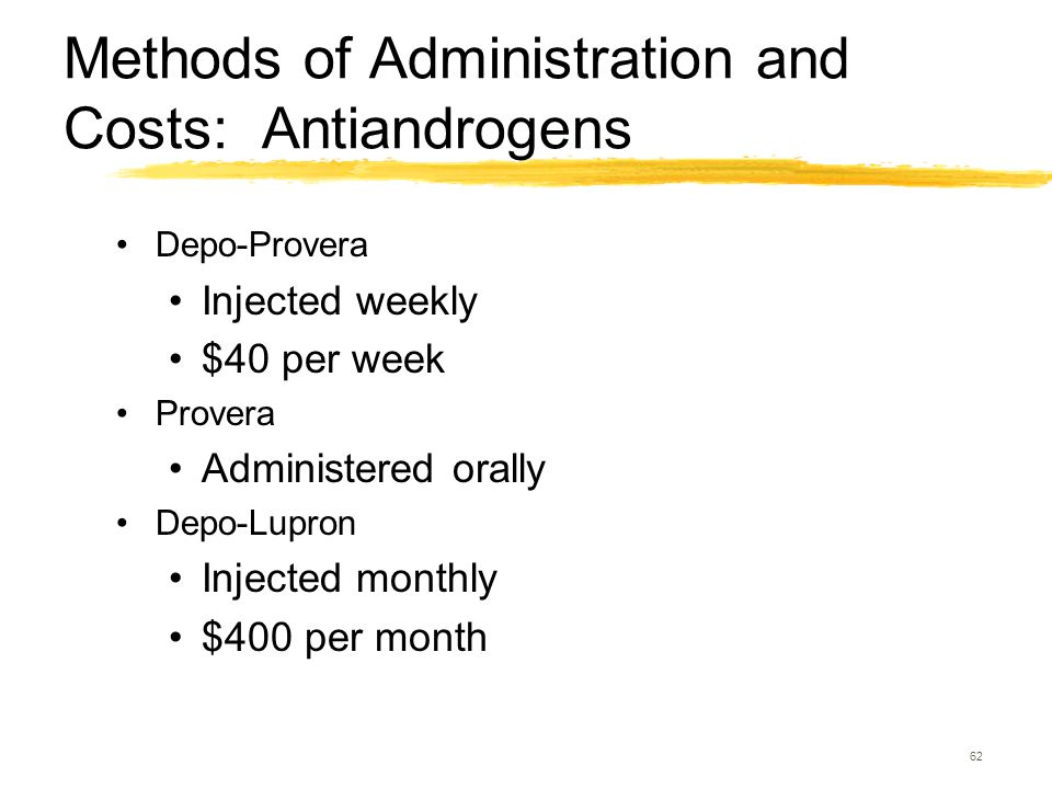 62 Methods of Administration and Costs: Antiandrogens Depo-Provera Injected weekly $40 per week Provera Administered orally Depo-Lupron Injected month