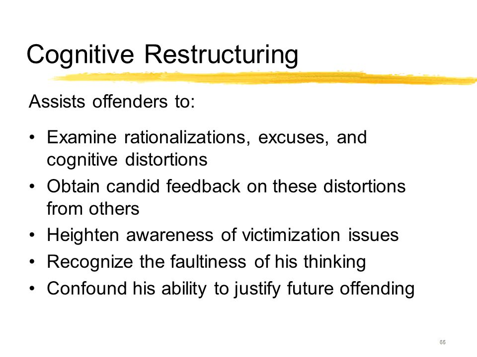 65 Cognitive Restructuring Examine rationalizations, excuses, and cognitive distortions Obtain candid feedback on these distortions from others Height