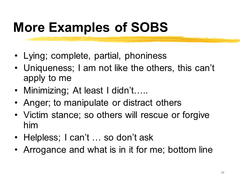 68 More Examples of SOBS Lying; complete, partial, phoniness Uniqueness; I am not like the others, this can't apply to me Minimizing; At least I didn'