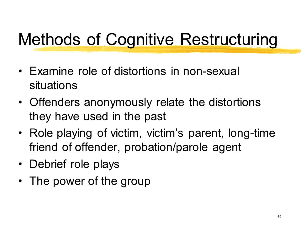 69 Methods of Cognitive Restructuring Examine role of distortions in non-sexual situations Offenders anonymously relate the distortions they have used