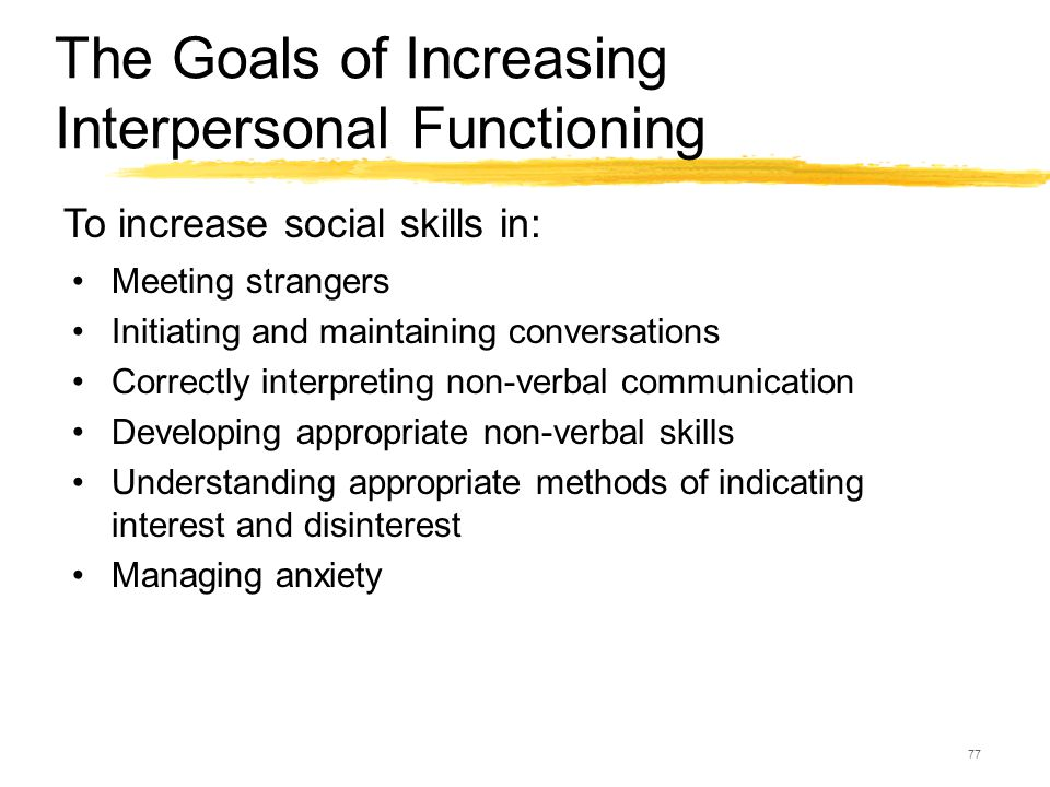 77 The Goals of Increasing Interpersonal Functioning Meeting strangers Initiating and maintaining conversations Correctly interpreting non-verbal comm