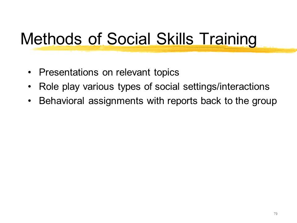 79 Methods of Social Skills Training Presentations on relevant topics Role play various types of social settings/interactions Behavioral assignments w